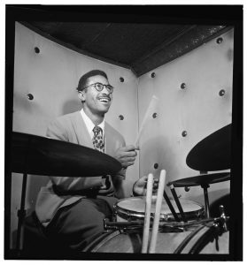 Max Roach at the Three Deuces Club in New York in October 1947. From the William P. Gottlieb Collection.
