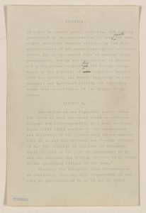 President Woodrow Wilson's first written draft of the League of Nations covenant, the founding document of the new and ill-fated international organization created by the peace settlement at the conclusion of World War I. Manuscript Division.