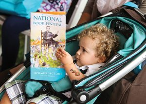 Child in stroller at National Book Festival