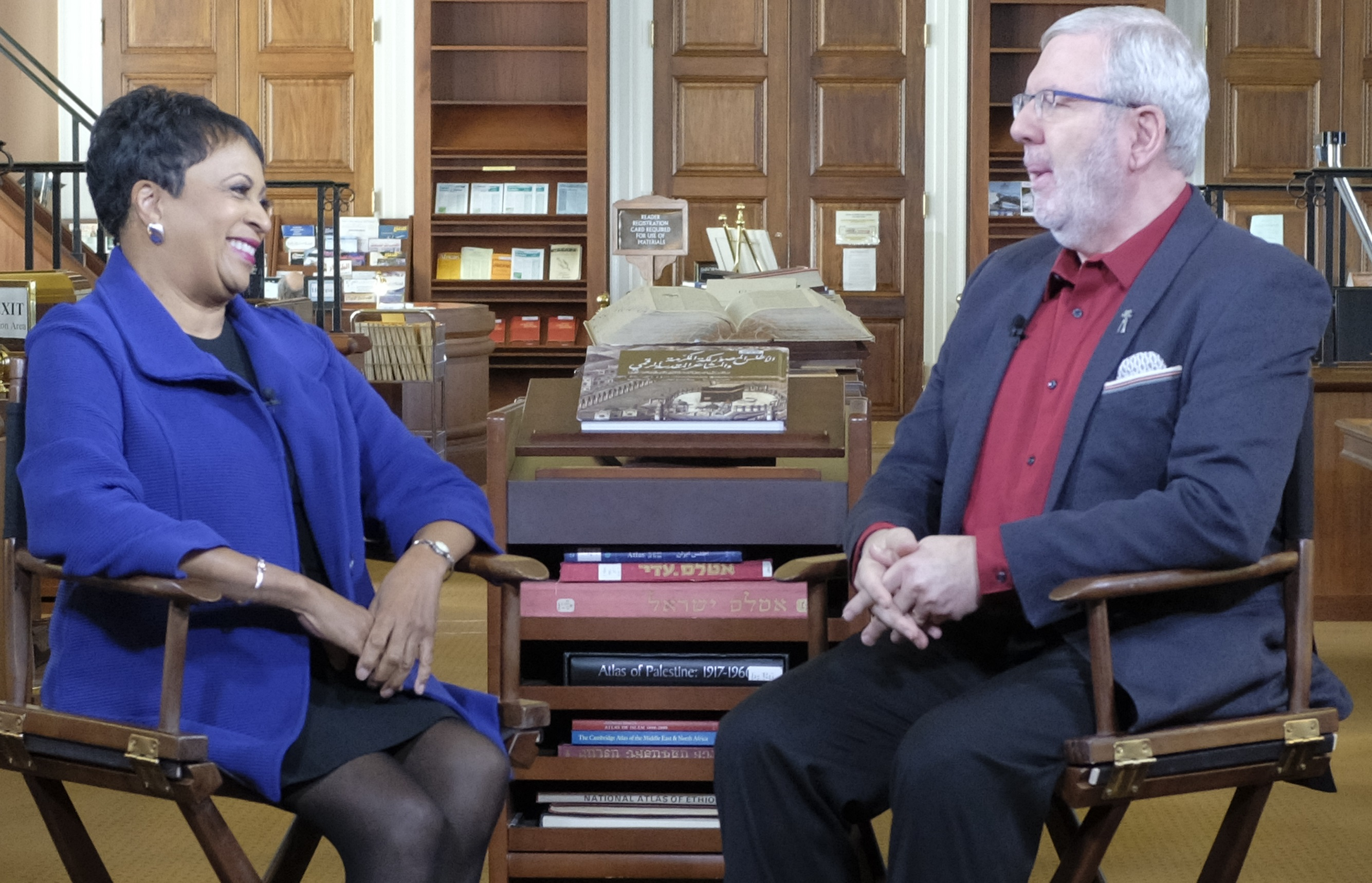 TCM's Leonard Maltin interviews Librarian of Congress Carla Hayden about the National Film Registry selections for 2017. Photo by Shawn Miller.