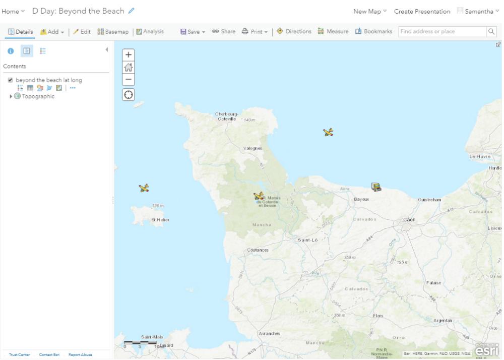 A screenshot of a map of Normandy.