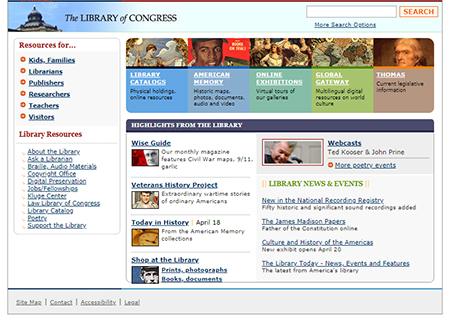 Screenshot of loc.gov home page on April 19, 2005