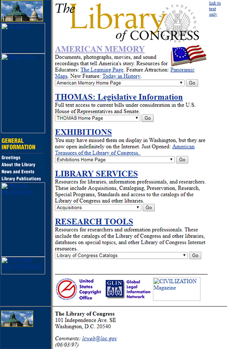Screenshot of loc.gov home page on June 16, 1997