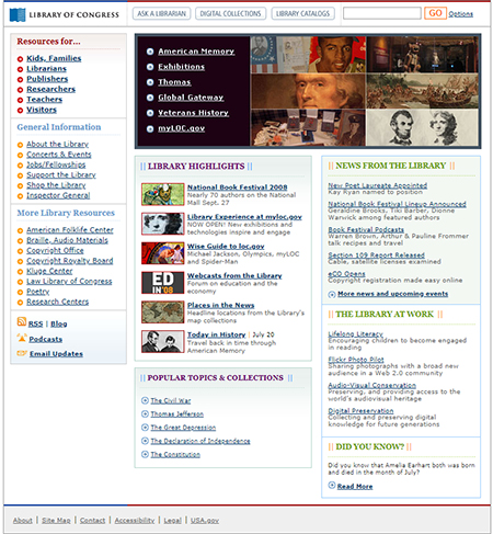 Screenshot of loc.gov home page on July 20, 2008