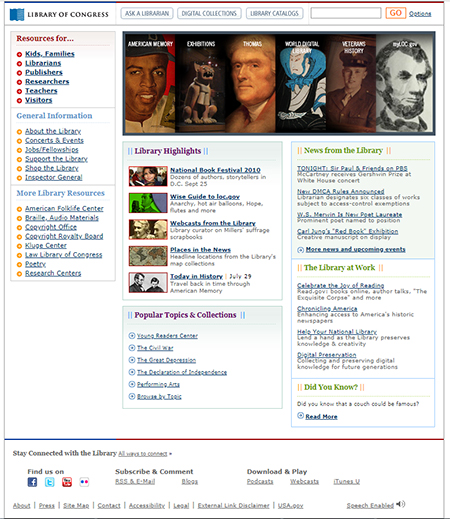 Screenshot of loc.gov home page on July 29, 2010