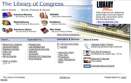 Screenshot of loc.gov home page on November 13, 2002