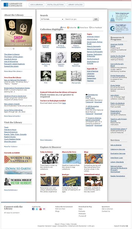 Screenshot of loc.gov home page on December 21, 2012