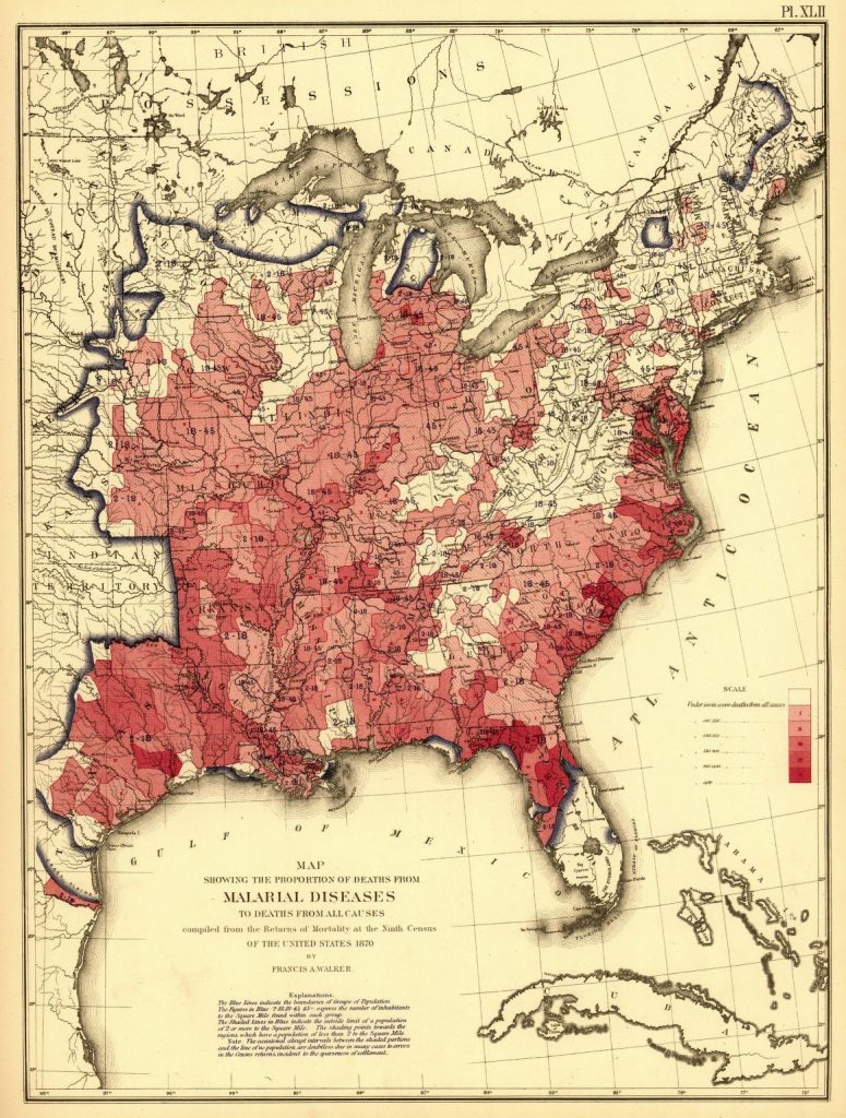 United States Census Office. 9Th Census, 1870, and Francis Amasa Walker. Statistical atlas of the United States based on the results of the ninth censuswith contributions from many eminent men of science and several departments of the government. [New York J. Bien, lith, 1874] Plate showing deaths from malarial diseases in 1870.