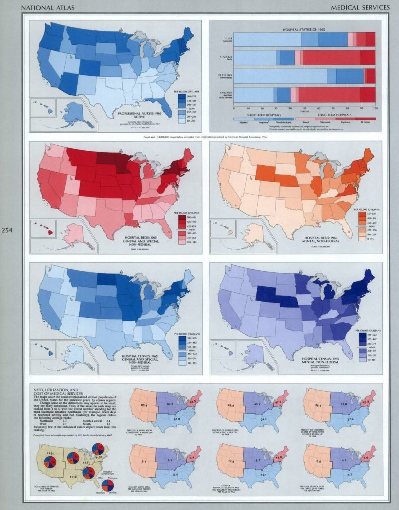 Geological Survey, U.S, and Arch C Gerlach. The national atlas of the United States of America. Washington, 1970. Plate shows distribution of hospital beds and medical services by state in 1970