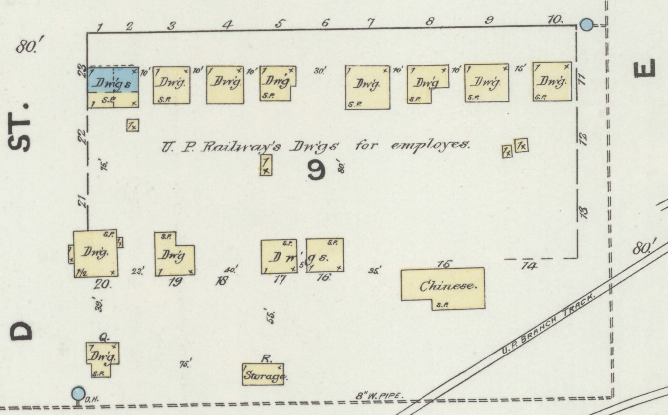 Sketch map of part of Rock Springs, Wyoming, in 1890, showing housing for miners.