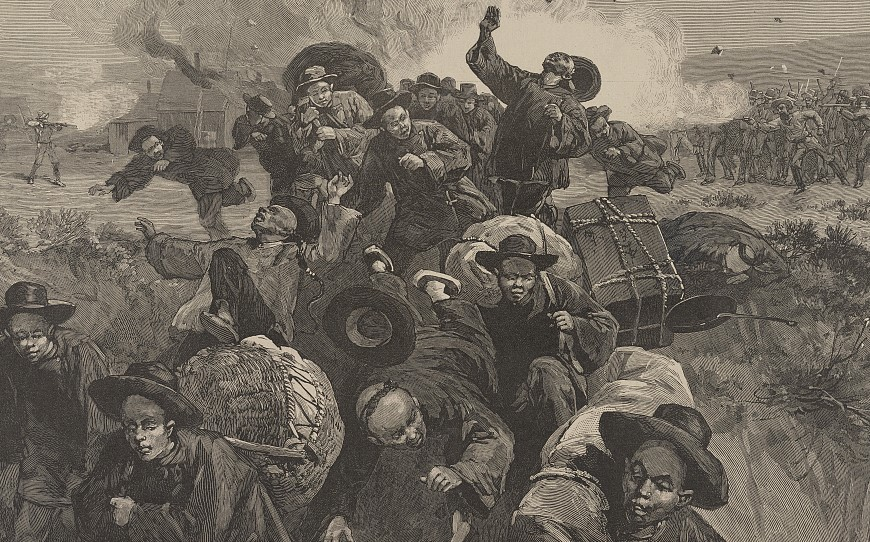 Illustration of white miners shooting fleeing Chinese workers.