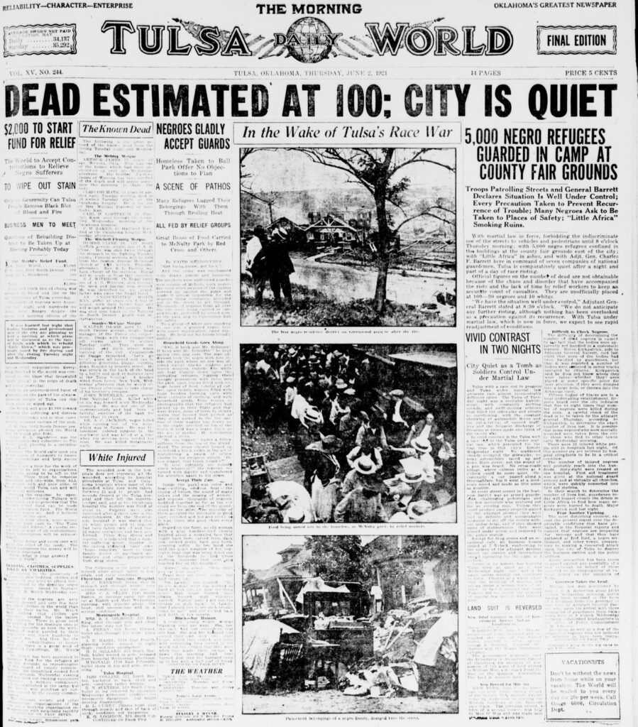 front page of Tulsa World with headline Dead Estimated at 100: city quiet