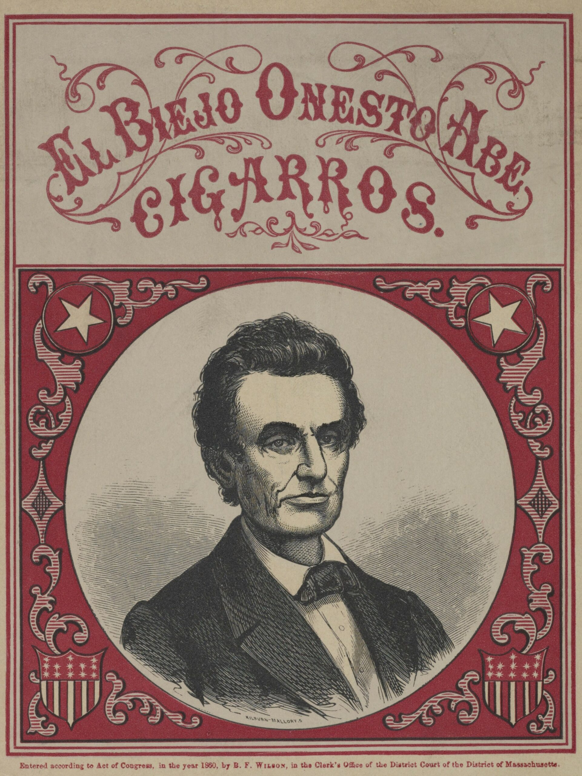 """Red and white cigar box label with sketch of Abe Lincoln titled """"El Biejo Onesto Abe Cigarros"""""""