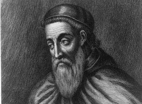 Pencil etching of Amerigo Vesupucci, with well-groomed beard, skull cap and cape.