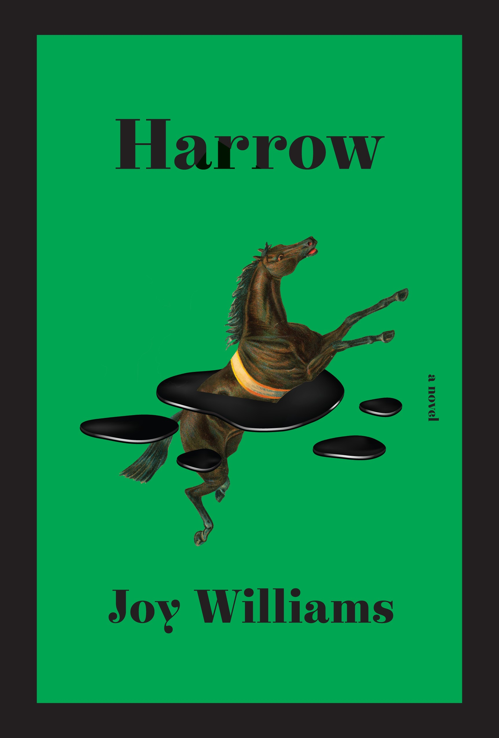 """The black and green cover of """"Harrow"""""""