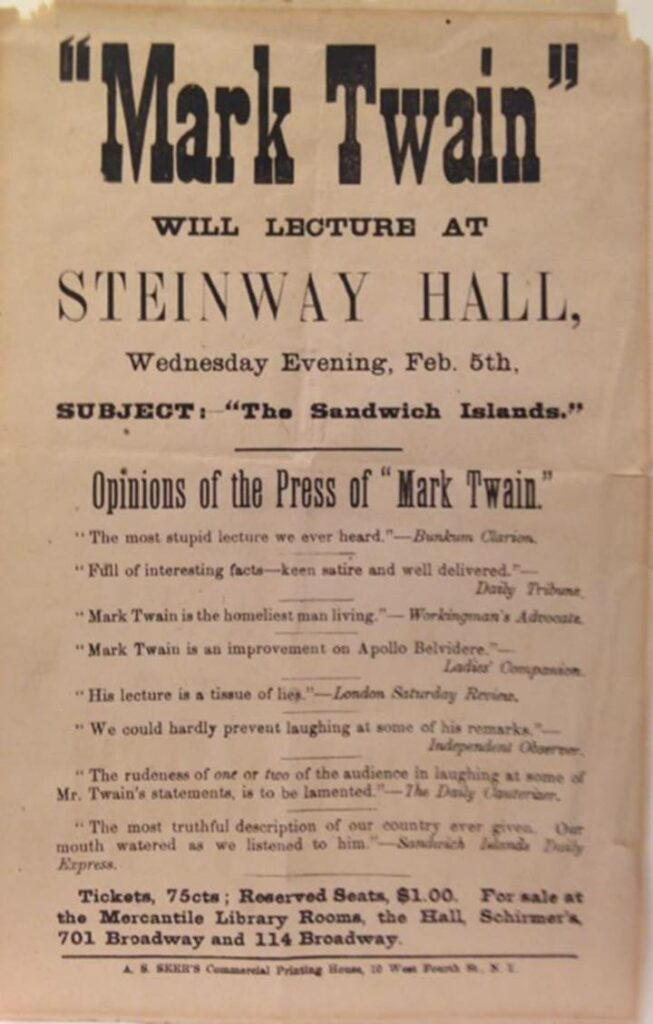 Printed promotional poster for Mark Twain speaking at Steinway Hall with text but no pictures