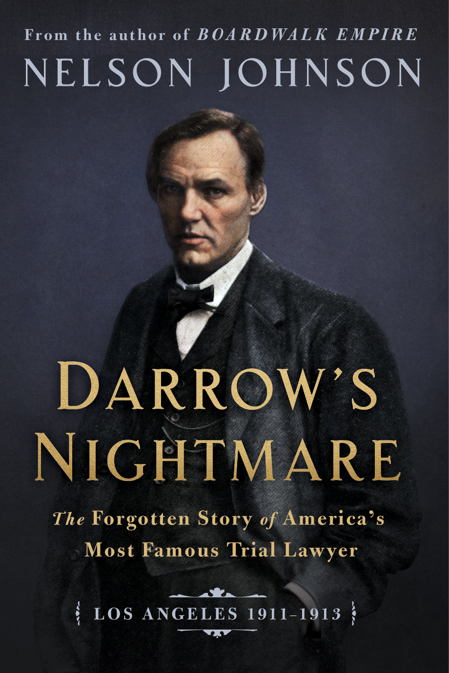 """""""Darrow's Nightmare"""" book cover, with Darrow , alone, in a suit and bow tie, looking at the reader"""