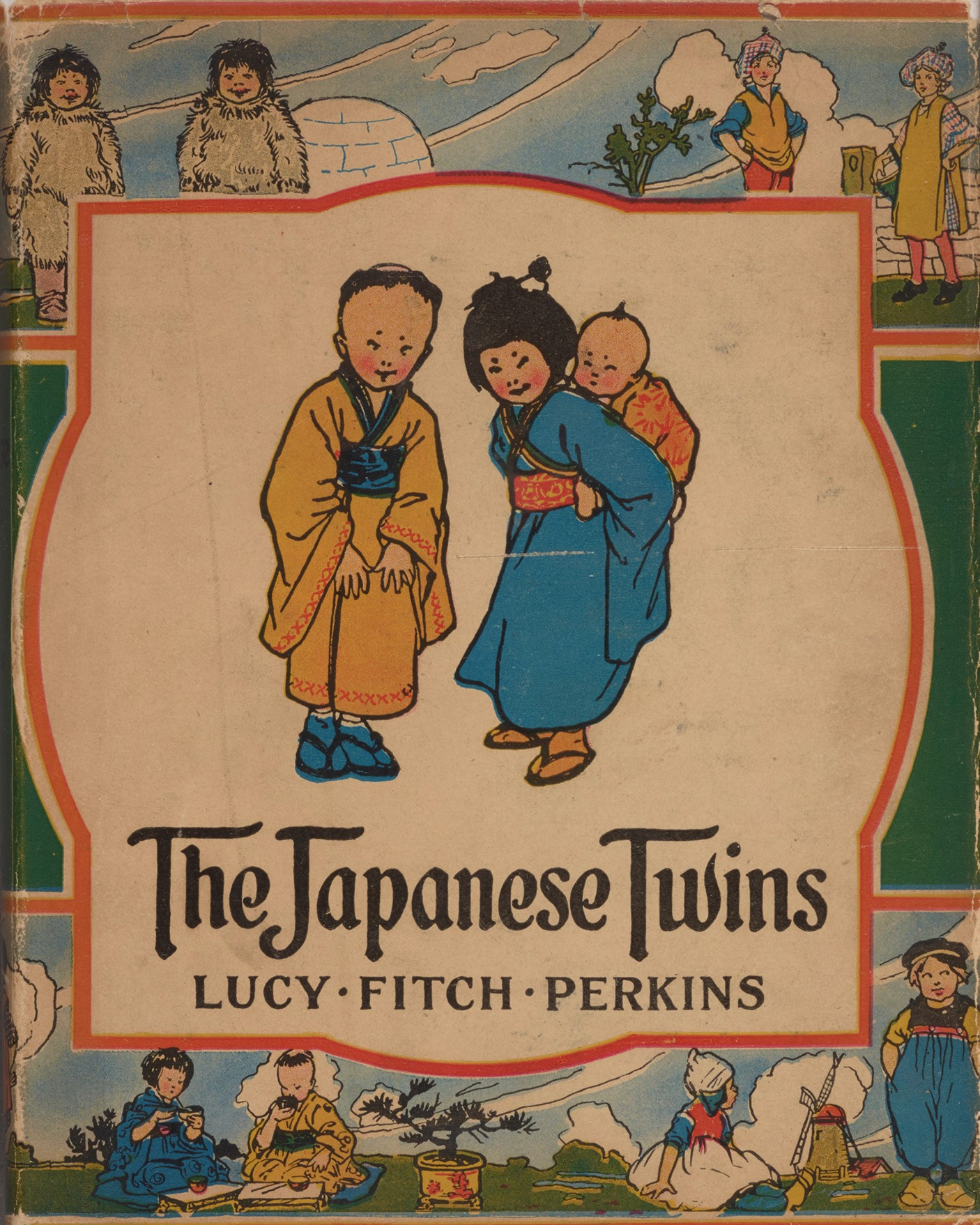 """Cover of """"The Japanese Twins,"""" featuring a boy dressed in yellow and a girl in blue."""
