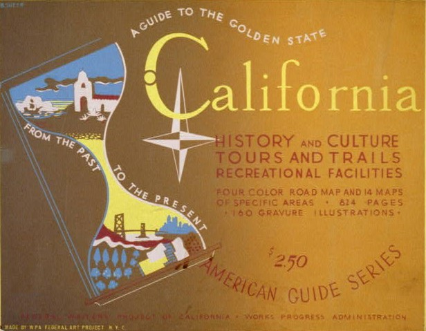 Cover of WPA Travel Guide to California, with images of the state in an hourglass