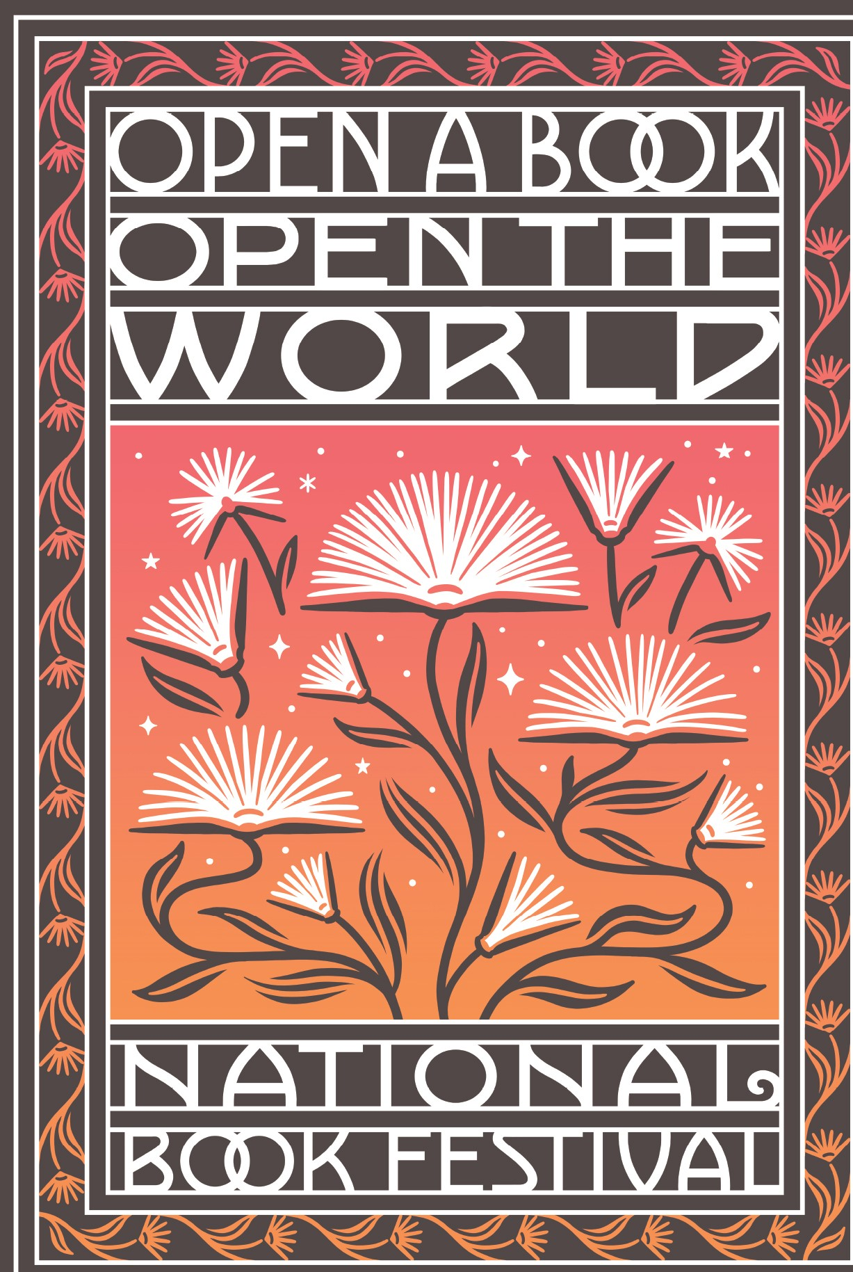 """""""Open a Book, Open the World"""" poster, depicting books as flowers, their pages opening like leaves"""