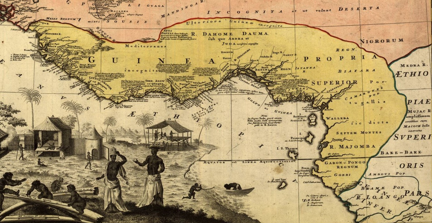 Hand colored map of western Africa, depicting mostly coastal areas