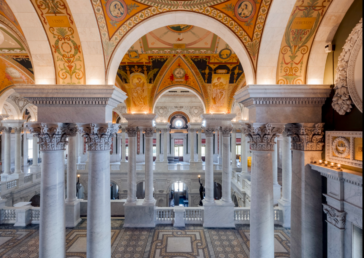 Columns, painting ceilings and marble walkways of the Great Hall