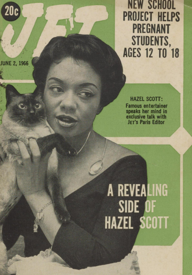 Hazel Scott holds a Siamese cat on the cover of Jet Magazine, June 2, 1968. Light green background with white and black lettering.