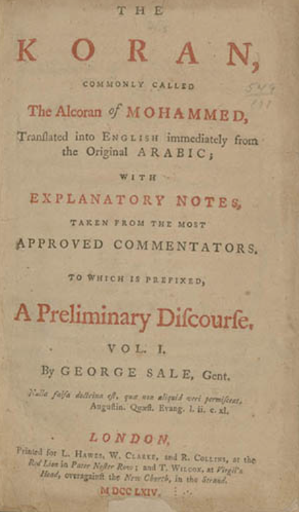 Text of title page of Jefferson's Koran copy, some in in red, rest in black